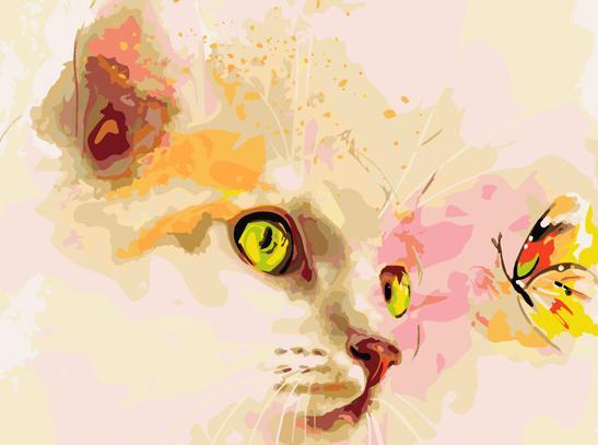 Котенок с бабочками рисунок