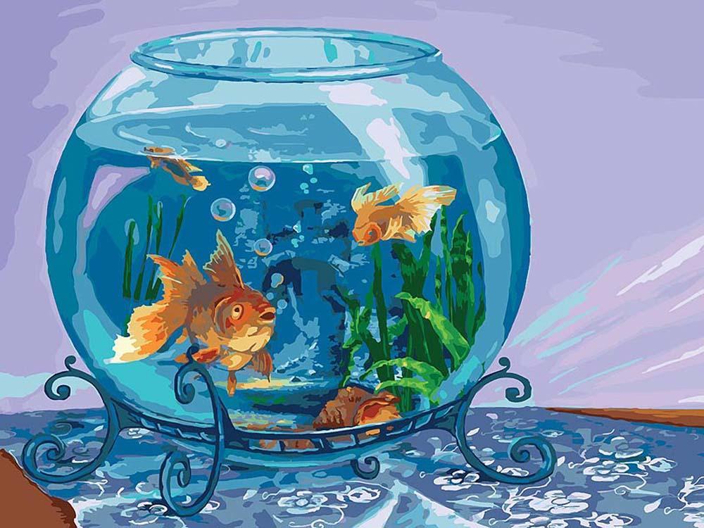 Картинка с аквариумом и рыбками