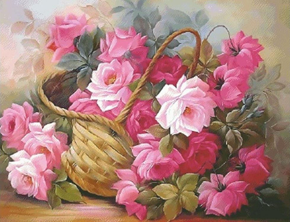 Вышивка живопись цветы