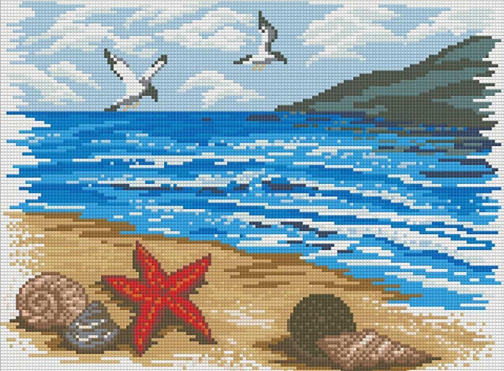 мозаика лодки на берегу