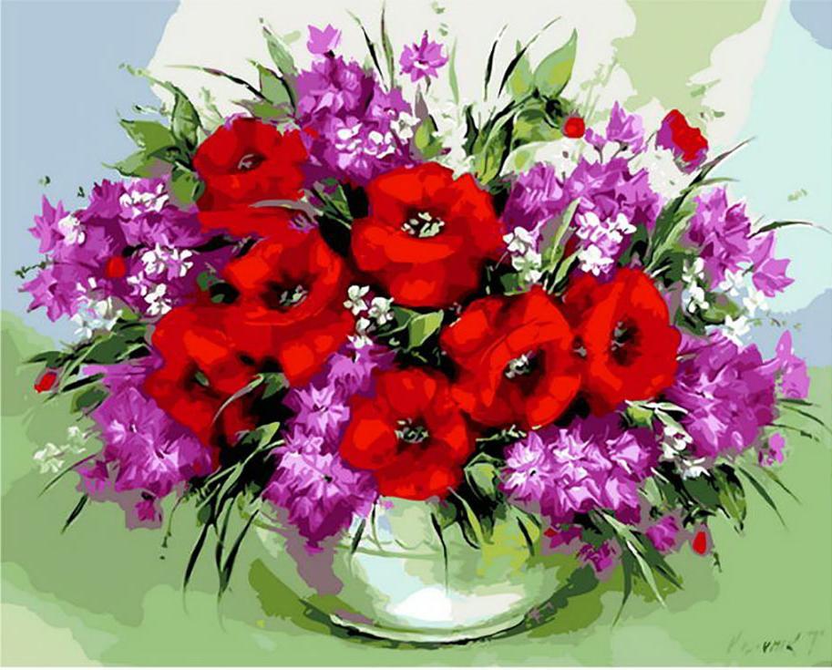 Поздравление с цветами разных цветов