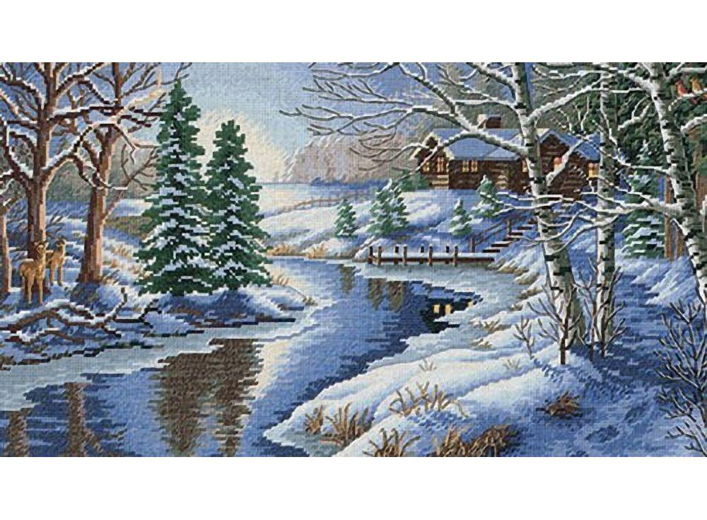 Вышивка крестом зимний пейзаж 96