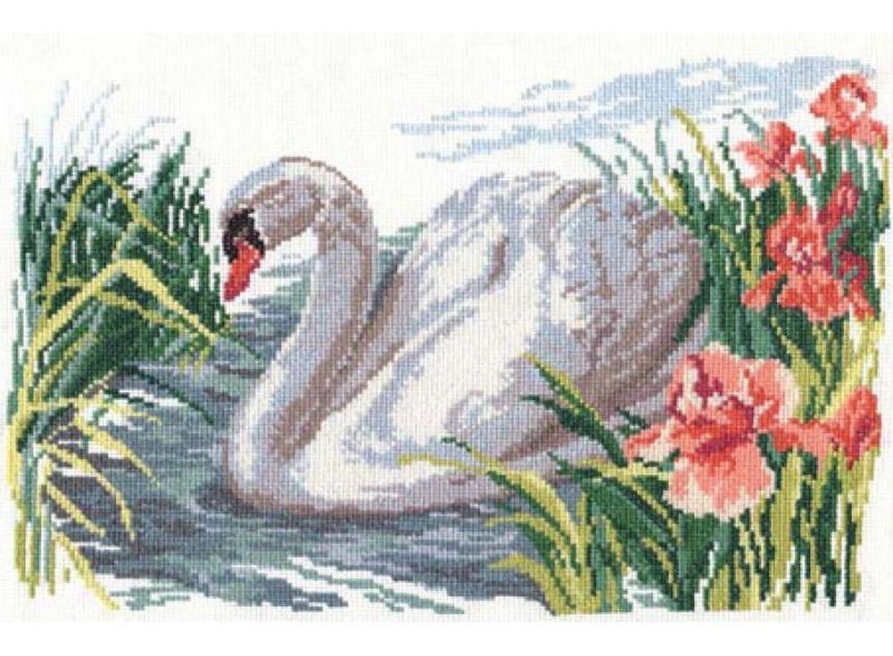 Большая вышивка лебеди