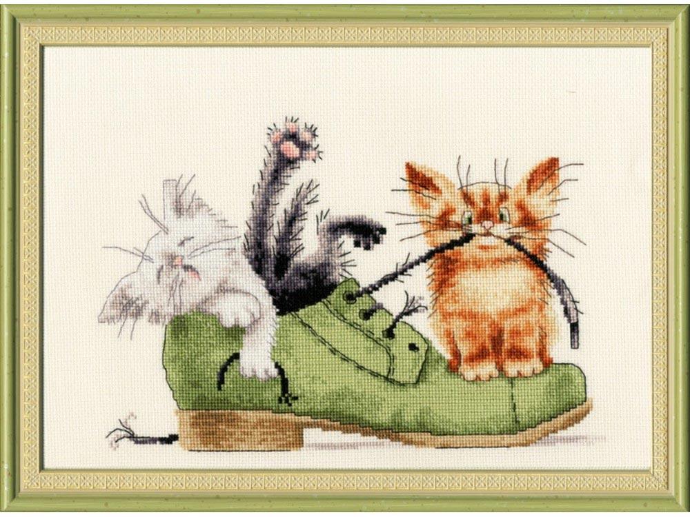 Схема вышивки котенка в ботинке