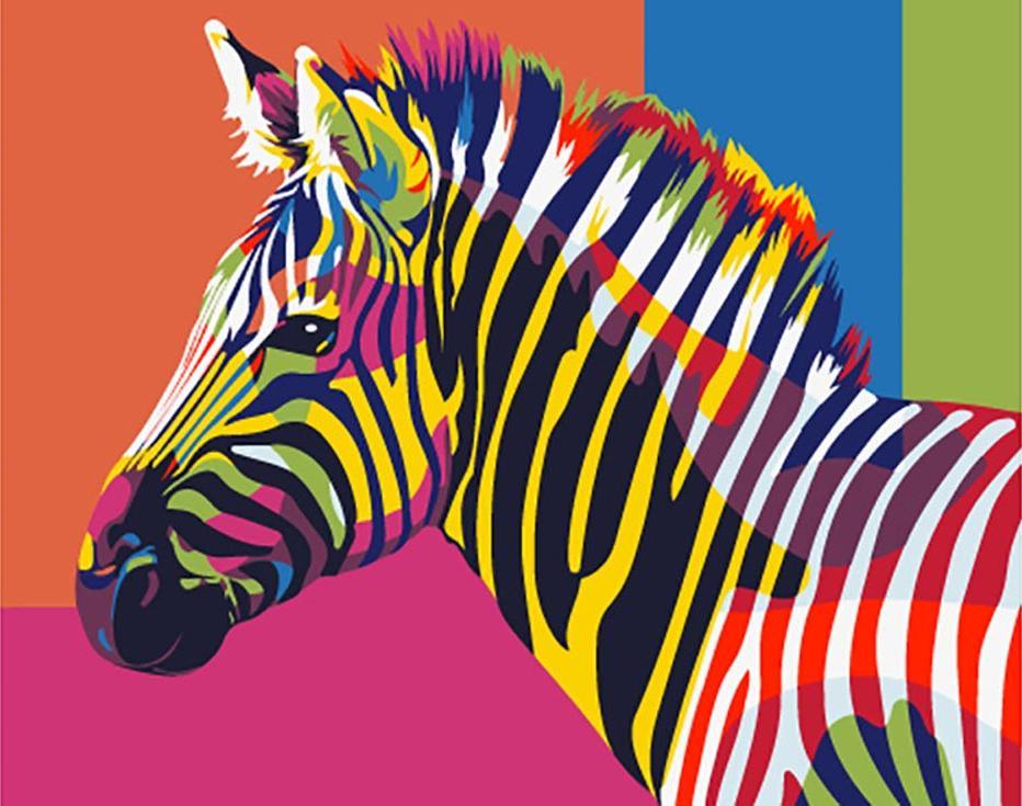 радикальная картинка радужная зебра расположения лампочек натяжном