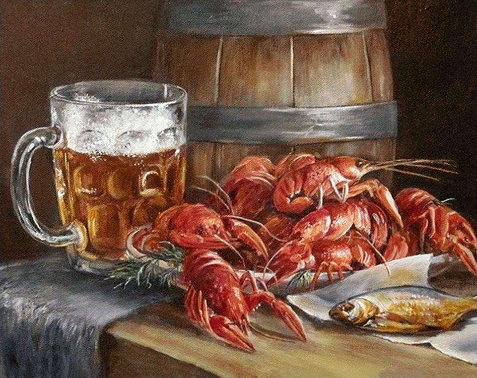 открытки с пивом и рыбой и застолье