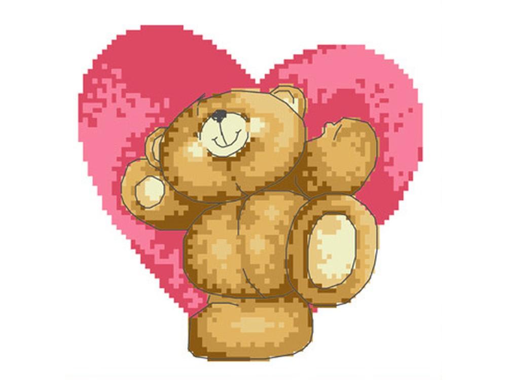 Мишка с сердечком фото крестиком
