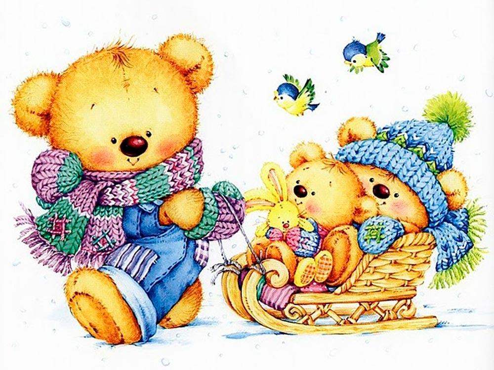 Открытка с милым мишкой, открытки