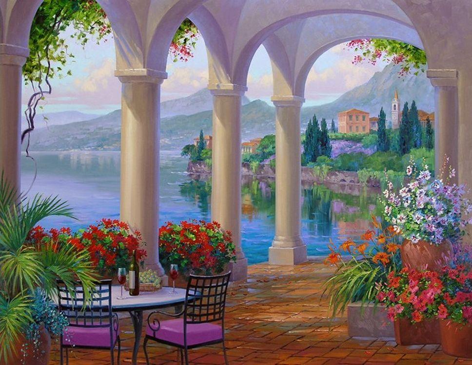 фотообои арки веранды с цветами все