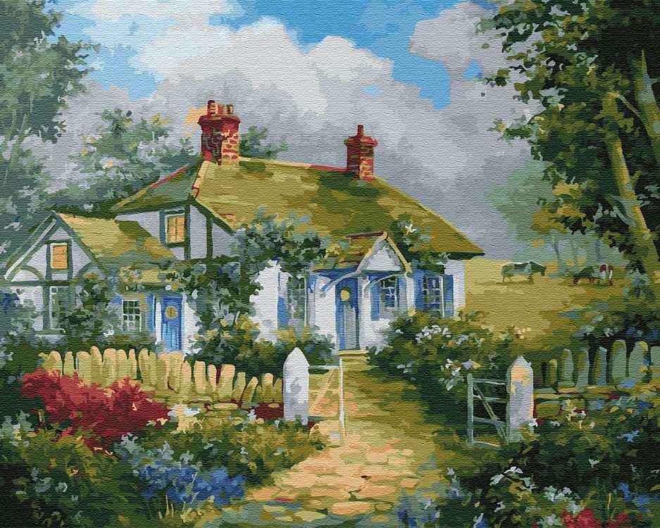 Домик в деревне раскраска по номерам